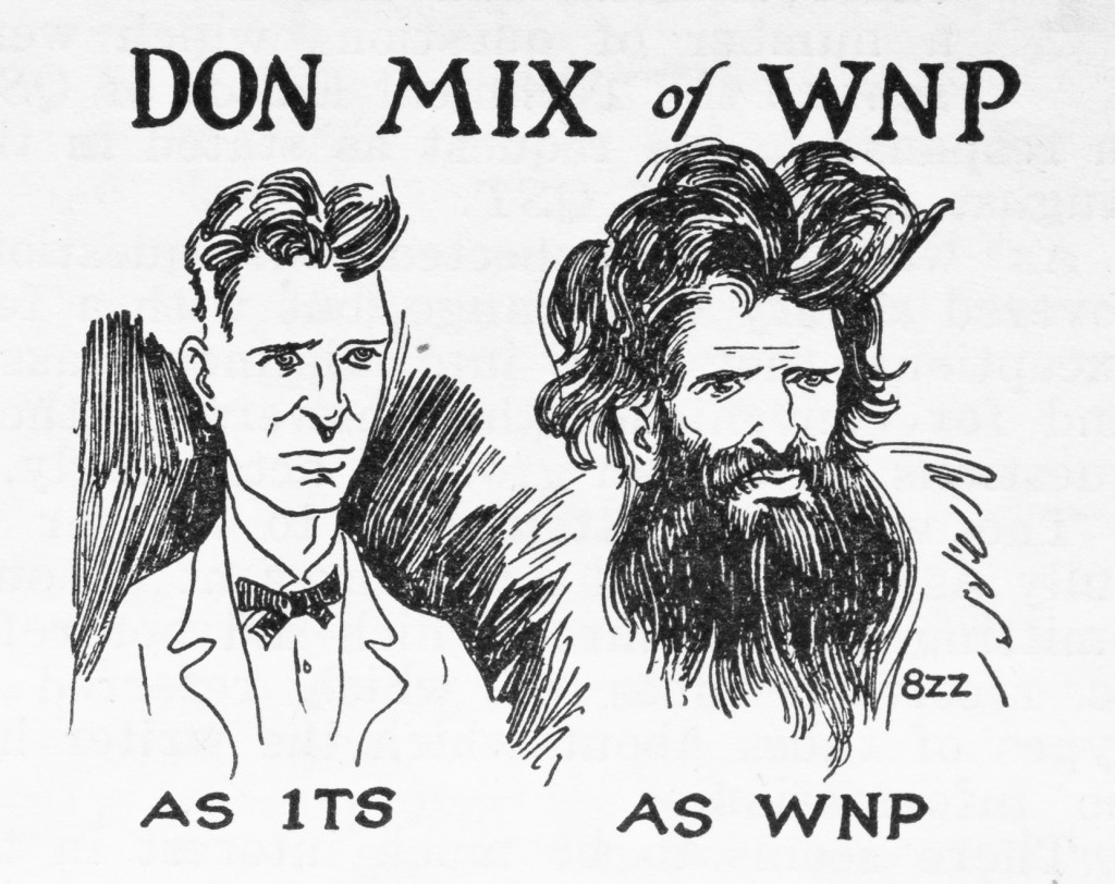 Mix, before and after, in a cartoon by Clyde Darr, 8ZZ