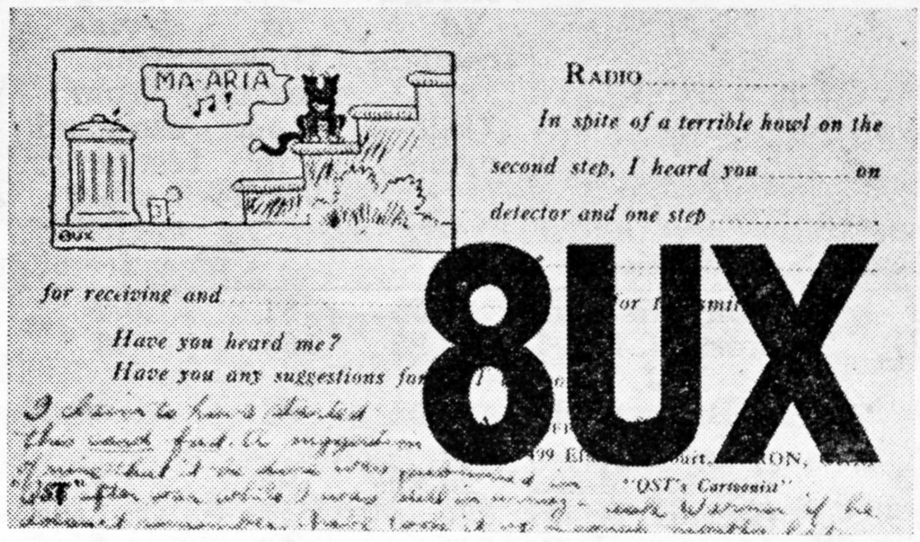 QST September 1924, p. 37, 8UX card.