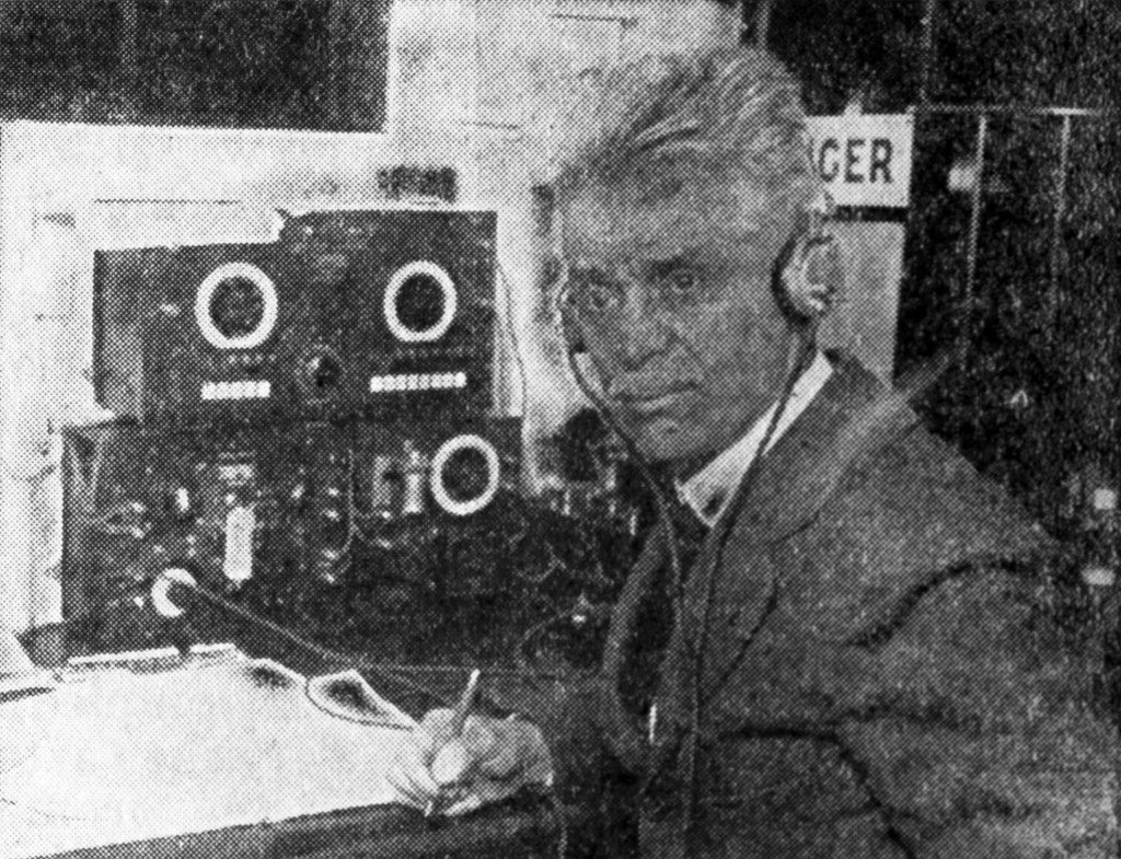 Maxim in ship's radio room during return voyage