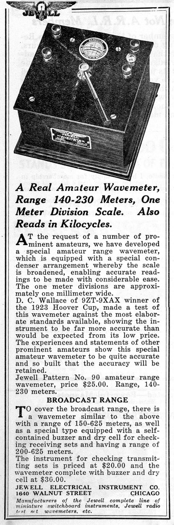 QST August 1924, p. 88, Jewell wavemeter ad